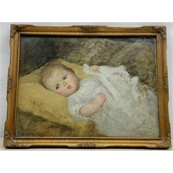 E L Kinloch (American 1860-1923): 'Caroline' portrait of a baby, oil on board signed and titled 29cm x 39cm