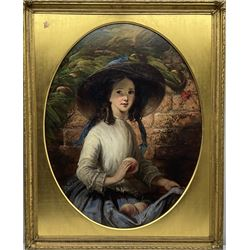 Thomas Musgrove Joy (British 1812-1866): Young Girl with Peaches, oval oil on canvas signed 88cm x 68cm