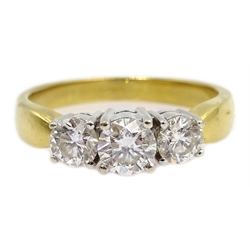 18ct gold three stone round brilliant cut diamond ring, stamped 750, with valuation certificate, central diamond approx 0.4 carat