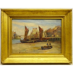 Horace Middleton (British exh.1902-1919): 'Whitby Harbour at Low Tide', oil on board signed, titled verso 24cm x 34cm