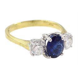 18ct gold three stone oval Ceylon sapphire and round brilliant cut diamond ring, hallmarked, sapphire approx 1.05 carat, total diamond weight approx 0.60 carat