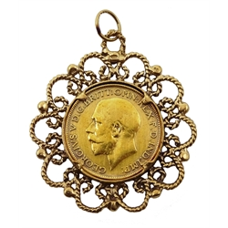 1915 gold full sovereign, loose mounted in gold openwork pendant, stamped 9.375, approx 13.87gm