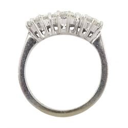 18ct white gold three stone diamond ring, London 1976, total diamond weight 2.80 carat, F-G colour, SI1 clarity, with World Gemological Institute Report