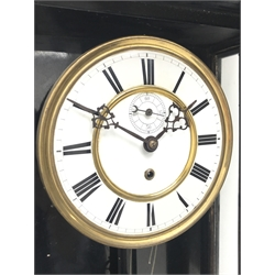 Early 20th century Vienna type regulator wall clock in ebonised case, circular Roman enamel dial with subsidiary seconds dial, single weight driven movement, H113cm