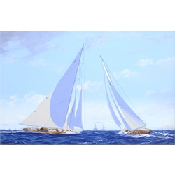 James Miller (British 1962-): 'Rainbow' & 'Endeavour' in the America's Cup Series 15th challenge 1934, oil on canvas signed, titled verso 29cm x 45cm