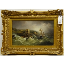 """Henry Redmore (British 1820-1887): 'Wreck of the Coupland', oil on canvas unsigned 23cm x 38.5cm   Provenance: private collection; with Christies 12th November 2014, Lot 65; the John Simpson, Haisthorpe Hall, East Yorkshire private collection; illustrated Arthur Credland's Marine Painting in Hull through Three Centuries pub. 1993 pp.93 Notes: the Coupland, a South Shields schooner having attempted  to enter Scarborough Harbour ran into trouble off the Spa in the Great Storm on 2nd November 1861. In the foreground is the lifeboat """"Amelia"""" before being dashed against the seawall."""