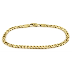 18ct gold flattened curb link bracelet, stamped 750, approx 17.7gm