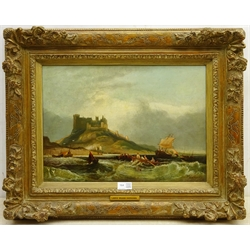 John Wilson Carmichael (British 1799-1868): Bamburgh Castle Northumberland, oil on canvas signed 31cm x 44cm Provenance: private collection; with Christies 'Maritime Art' 23rd May 2012, Lot 183