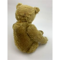 Early 20th century German teddy bear c1920, probably Steiff or Bing, with wood wool filled humped back golden mohair body, swivel jointed head with glass eyes and brown vertically stitched nose and mouth, jointed limbs with elongated arms and felt paw pads with black stitched claws H18