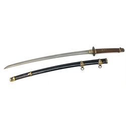 WWII Japanese Naval Kai Gunto sword, 71cm bright steel single edge curved blade with starburst Tsuba, cotton wrapped shagreen hilt with floral menuki, black lacquer sheath with twin suspension rings, 101cm overall