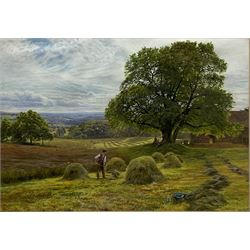 George Vicat Cole (British 1833-1893): 'Haymaking', gouache and watercolour unsigned 35cm x 50cm Provenance: East Yorkshire private collection; Sotheby's 22nd March 2005 Lot 143; with The Leger Galleries, Old Bond Street, May1965; the collection of Mrs L H Leach