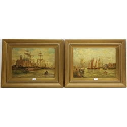 Vic Edmunds (Early 20th century): Great Yarmouth Harbour Quayside scenes, pair oils on canvas signed, titled verso 34cm x 50cm (2)