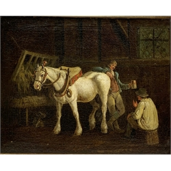 English School (19th century): Stable Interior, oil on canvas unsigned 35cm x 43cm