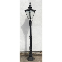 Victorian style cast iron street lamp post with glass lantern top, H259cm