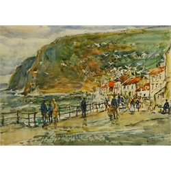 Rowland Henry Hill (Staithes Group 1873-1952): Busy Day Staithes, watercolour signed and dated 1943, 23cm x 32cm