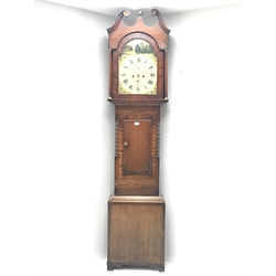 Early 19th century oak and mahogany longcase clock, the hood with swan neck pediment, trunk door flanked by canted corners with turned quarter columns, enamel dial painted with town church and river scene, singed 'C. Skelton, Malton', 30-hour movement striking on bell, H224cm