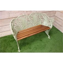 Coalbrookdale style cast metal wheat sheaf bench, hardwood slatted seat, green painted finish, W118cm