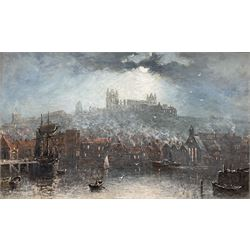 Richard Weatherill (British 1844-1913): Whitby Harbour and Abbey by Moonlight, oil on board signed 22cm x 37cm