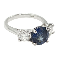 18ct white gold round sapphire and diamond three stone ring, hallmarked, sapphire approx 4.10 carat, diamond total weight approx 1.10 carat  