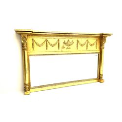 Regency style gilt overmantle mirror, Adam style urn flanked by swags