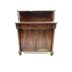Regency mahogany chiffonier, raised panelled back, rectangular top over single frieze drawer and double cupboard, two plain turned column pilasters, egg and dart moulded beading
