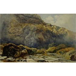 Mary Weatherill (British 1834-1913): Cliff scene, watercolour attributed by her brother Richard 21cm x 33cm