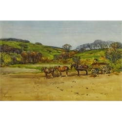John Atkinson (Staithes Group 1863-1924): Yorkshire Landscape with Working Horses, watercolour signed, inscribed verso 32cm x 49cm