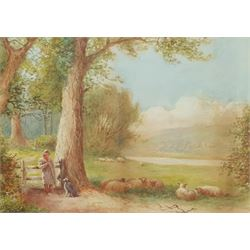 A Clifton (British 19th/20th century): Farmer Resting by a Gate, watercolour signed 24cm x 34cm; English School (19th century): Cattle by the Hayfield, watercolour signed with indistinct monogram 36cm x 50cm (2)
