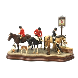 A limited edition Border Fine Arts figure group, Gather at the Snooty Fox, model no B1160 by Anne Wall, 48/350, on wooden base, figure L44cm, with accompanying certificate.