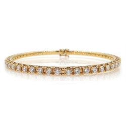 18ct rose gold round brilliant cut diamond hinged bangle, stamped 750, diamond total weight approx 5.70 carat