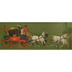 After Cecil Aldin (British 1870-1935), 'Sam Weller Meets his Mother in Law', chromolithograph from the 'Pictures from Pickwick' series pub. Lawrence and Jellicoe 30cm x 40cm; 'The Glasgow Coach', chromolithograph pub. Lawrence and Jellicoe c.1907, 27cm x 70cm (2)