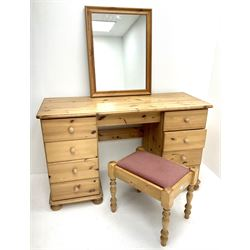 Solid pine twin pedestal dressing table, eight drawers, turned supports (W127cm, H77cm, D49cm) with wall mirror and stool (3)