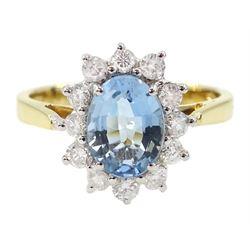 18ct gold oval aquamarine and round brilliant cut diamond cluster ring, hallmarked, aquamarine approx 0.90 carat, total diamond weight approx 0.40 carat