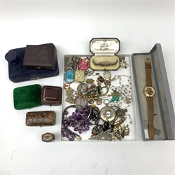 Victorian and later jewellery boxes, silver and marcasite ladies cocktail watch cased, Alfex skeleton wristwatch, half hunter pocket watch and a collection of Victorian and later costume jewellery