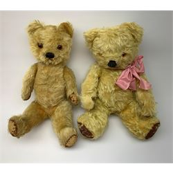 Five English teddy bears c1930s-50s comprising Chad Valley with swivel jointed head, glass eyes, vertically stitched nose and mouth and jointed limbs with rexine pads H16