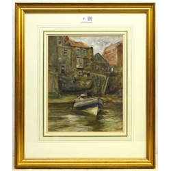 Robert Jobling (Staithes Group 1841-1923): Coble at Staithes, watercolour signed with initials 30cm x 23.5cm  Provenance: with Phillips & Sons Cookham July 1997, label verso