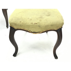 Set six Victorian mahogany dining chairs, shaped cresting rail above carved middle rail, serpentine upholstered seats, on shaped moulded supports with carved terminals, seat width - 48cm