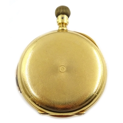18ct gold A.W.W. Co Waltham Riverside full hunter pocket watch, side wind, five minute repeater no 3793845, stamped 18c