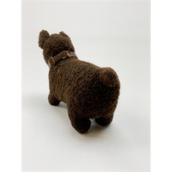 Farnell type small spaniel dog c1930s with white body and cinnamon ears and nape, glass eyes and vertically stitched nose and mouth L9
