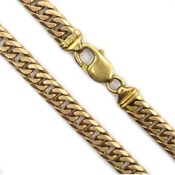 Heavy 9ct gold flattened chain necklace hallmarked approx 77gm 56cm