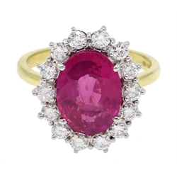 18ct gold pink sapphire and diamond cluster ring, hallmarked, sapphire approx 3.10 carat