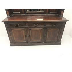 Late Victorian mahogany mirror back sideboard, projecting cornice, egg and dart detailing, moulded top above reeded columns flanking three drawers and three cupboards, plinth base, W201cm, H212