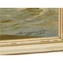 Gustav Burghardt (German 1898-1970): Shipping on the Elbe, oil on board signed 69cm x 98cm