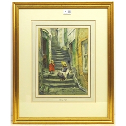 Albert George Stevens (Staithes Group 1863-1925): Children on the Steps Whitby, watercolour signed 33cm x 24cm