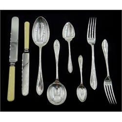 Canteen of Viner's Ltd Sandringham pattern silver cutlery for twelve covers, the knives and carvers all stainless steel with bone handles, Sheffield 1932, weighable silver approx 118oz