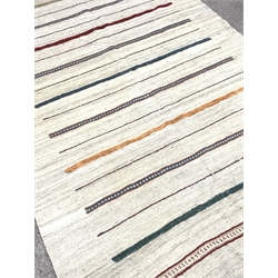 Shiraz Kilim beige ground rug, patterned stripes, 250cm x 155cm