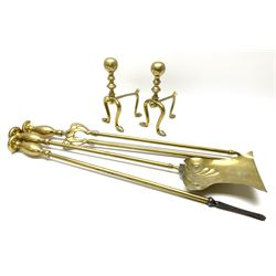 Set of three brass long-handled fire tools, the tongs with Art Nouveau mounts; and a pair of brass fire-dogs with spherical terminals (5)