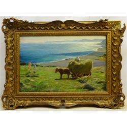Arthur A Friedenson (Staithes Group 1872-1955): Haymaking above Runswick Bay, oil on canvas signed and dated '94, 30cm x 46cm