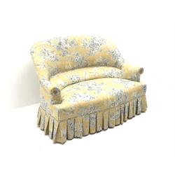 20th century French style two seat settee, serpentine seat and curved back, pleated skirt, upholstered in 'Wellington' fabric by Waverly, W125cm, H82cm, D84cm (max)