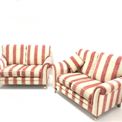 Pair Alstons two seat sofas upholstered in red and beige Henna stripped fabric, W150cm